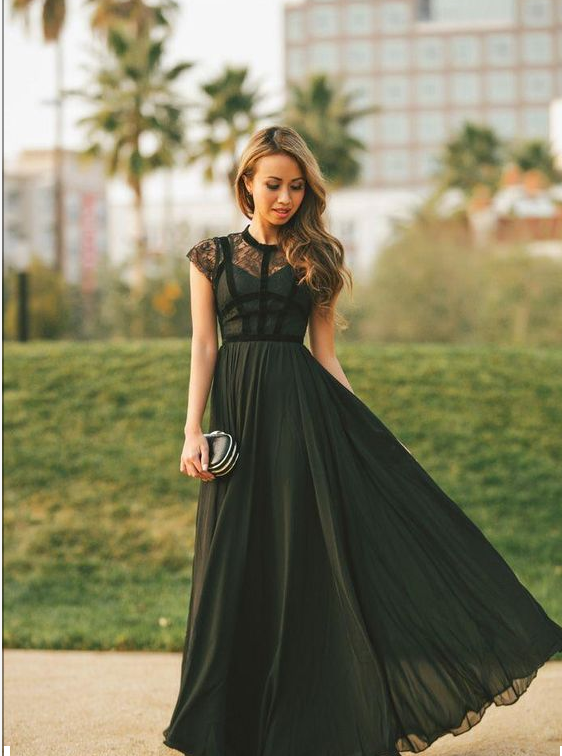 2016 Black Evening Dress Dresses High Neck Cap Sleeve Long Prom
