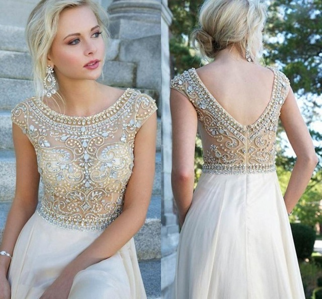 2016 Y Prom Dresses Long Chiffon Gowns A Line Dress Scoop Cap Sleeve Backless Crystals Bling