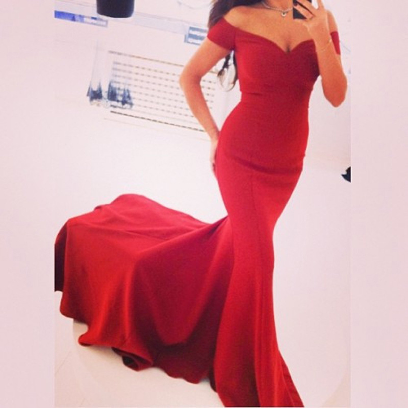 d03cf495e1d Sexy Prm Dress , Red Prom Dress , Long Prom Dress , Off The Shoulder  Cocktail Dress, Women Prom Dress Slim Fishtail Prom Dress
