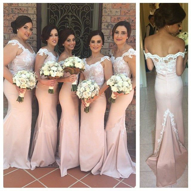Lace Bridesmaid Dress Long Gown Pink Gowns Mermaid Dresses White 2016 Vinatge