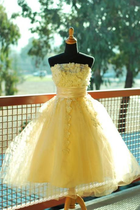 Handmade Cute Yellow Ball Gown Prom Dress With Lique Dresses