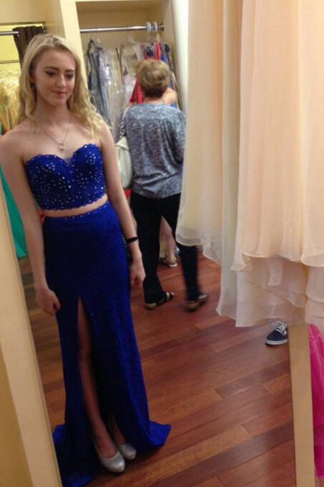 Beaded Embellished Royal Blue Two-Piece Prom Dress Featuring Sweetheart Crop Top and Floor Length Skirt With Slit